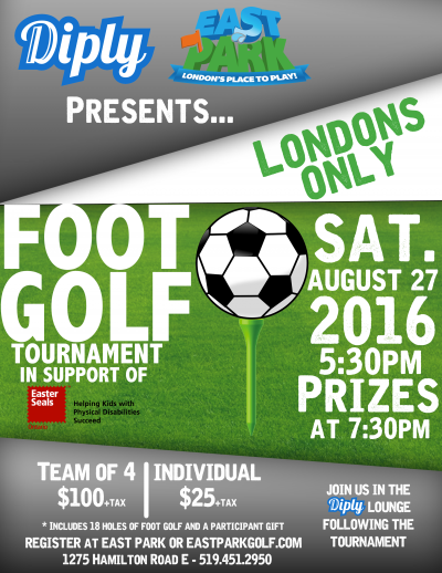 East Park's 1st Foot Golf Tournament Sat Aug 27th 2016 – presented by Diply